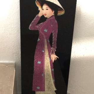 Traditional Vietnamese Lady Wall Art Painting