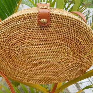 BN oval handwoven straw bag