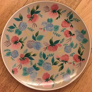 Peonies large plate - mocca, from Indonesia Designer