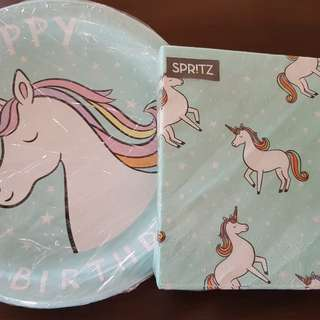 Unicorn and rainbows Party Plates, Napkin, Cups, Straws