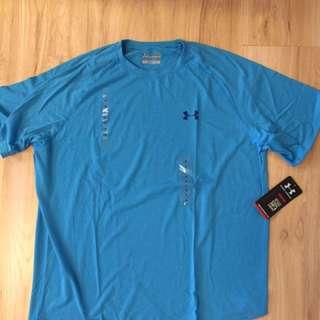 美國全新真品UA藍色運動休閒排汗上衣 L號
