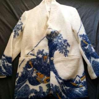 浮世繪日本風復古古董古著羊毛外套西裝褸 vintage Ukiyo-e felt patten blazer wool size M~L