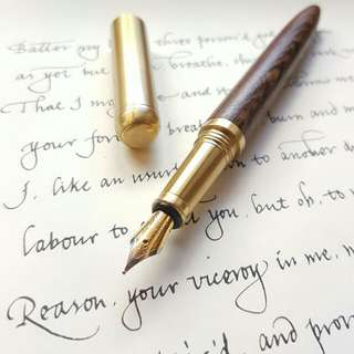 Wood & brass Stub nib fountain pen