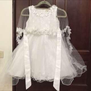 女童白色婚紗👰拍照喜宴禮服