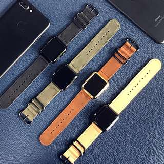 42mm/38mm APPLE WATCH SERIES 3/2/1 GENUINE COWHIDE LEATHER STRAP WITH ZULU BUCKLE CASE CASING COVER STRAP BAND (Authentic) (Self-Collection) (Postage)