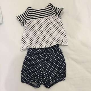 Baby Gap set top with matching bloomers 3-6m girls
