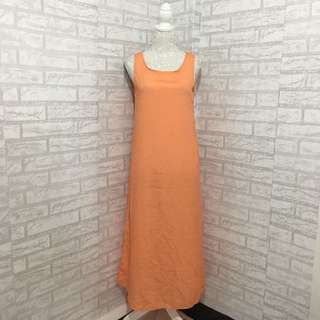 Orange Long Sleeveless Dress