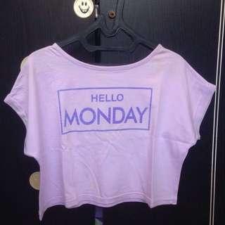 crop top / tee tumblr : Hello Monday