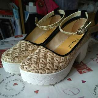 Sepatu Wedges Fiza Brukat Glitter