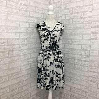 White Floral Print Dress
