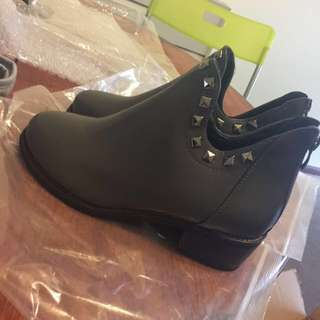 Pu Leather Boots Heels
