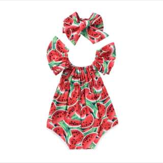 Brand New Baby Girl Watermelon Print bodysuit and headband