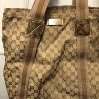 Gucci tote bag gold monogram