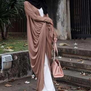 QuftanEmpire Nude Drape Dress