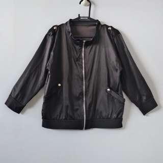 Black Bomber Jacket (3/4 sleeves)