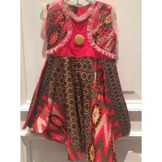 Batik Dress Merah Cantik Anak