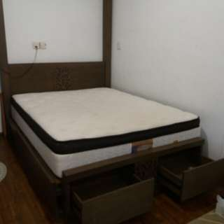 Solid queen bed for sale