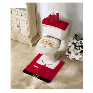 Santa Claus Toilet Seat Cover with Rug Bathroom Mat Set Christmas Decorations
