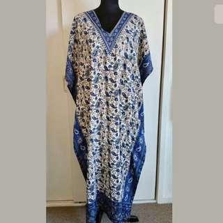 IQRA free size blue beige paisley women long kaftan dress summer beach flowy