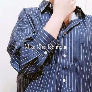 🚚 正韓條紋挺版棉質男友風寬鬆長袖襯衫
