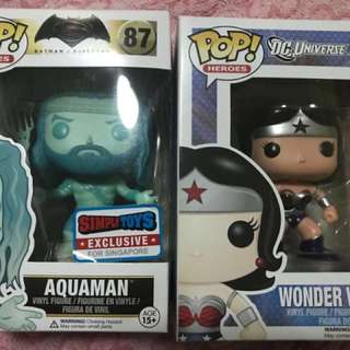 Funko pop Aquaman & Wonderwoman