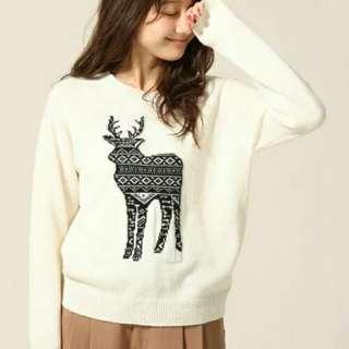 Lowrys Farm 原單日本麋鹿80%羊毛針織毛衣