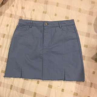 微彈開衩丹寧藍窄短裙