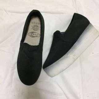 Black & White Platform Slip On
