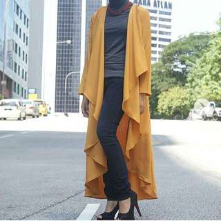 Long Cardigan in Mustard colour