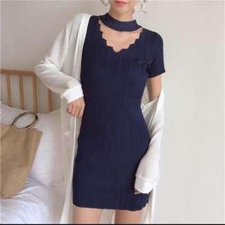 藍色 針織洋裝