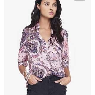 Express Pink Paisley Portofino blouse. EUC Sz M