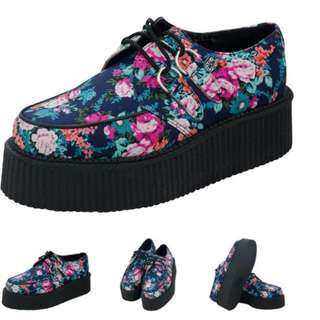 TUK Floral Platform Creepers Size 6