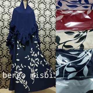Bergo misbi motif bunga hitam