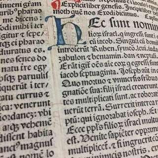 1487 Biblia Latina 16 leaves Genesis 21-Exodus 37