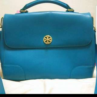 🚚 Saviano leather blue tote bag classic