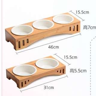 (NEW!) Pet Bowl Set Stand wood