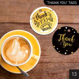 [$0.60/pc] Gold / Black 'Thank You' Favour Gift Tags