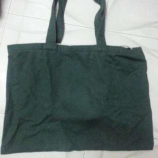 Green colour tote bag