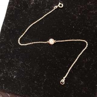 Tiffany 款18k玫瑰金20份鑽石水泡等手鍊