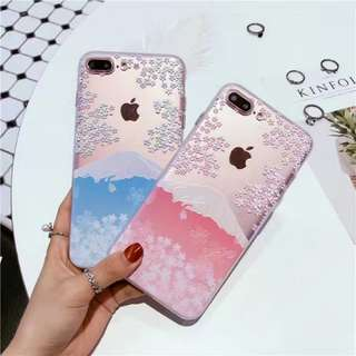 富士山櫻花浮雕iphone case手機殼