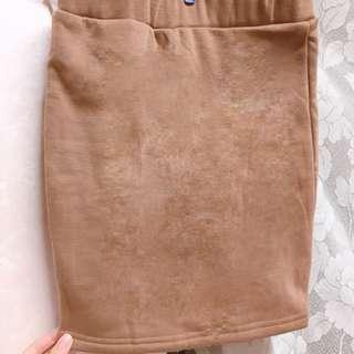 🚚 💗毛呢咖啡色短裙