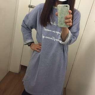 Net 全新花紗藍長版長板草寫字五分袖上衣tshirt Dobe Shin Cozyfee Yourz 水莎 貓咪曬月亮 可參考#我的女裝可超取