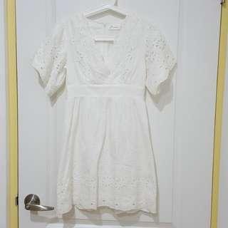 pazzo白色蕾絲V領洋裝