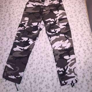 Black & White Woodland Camo Cargo Pants