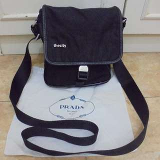 AUTHENTIC PRADA SLING MESSENGER BAG - SMALL - IN SIGNATURE NYLON CANVAS