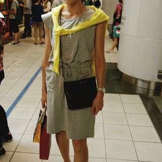 半袖抽繩中長版休閒洋裝