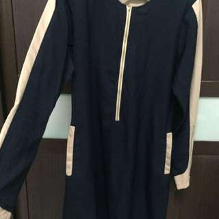 Blouse labuh | Dark blue & light brown