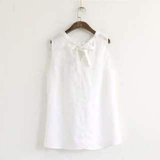 Sleeveless Linen Top with Bow