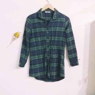 綠格長版襯衫 #好物免費送