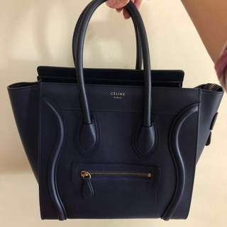 NAVY Smooth Leather Celine Micro Luggage